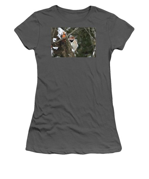 Snowy Northern Flicker Women's T-Shirt (Athletic Fit)