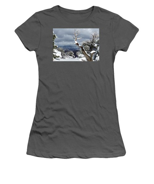 Women's T-Shirt (Junior Cut) featuring the photograph Snowy View by Laurel Powell