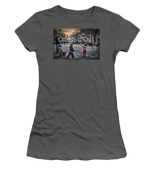 Women's T-Shirt (Junior Cut) featuring the photograph Soap Bubbles Evening Play by Jivko Nakev