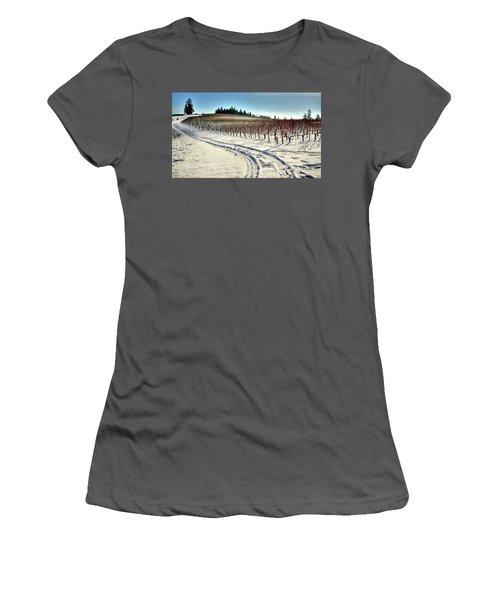 Soter Vineyard Winter Women's T-Shirt (Junior Cut) by Jerry Sodorff