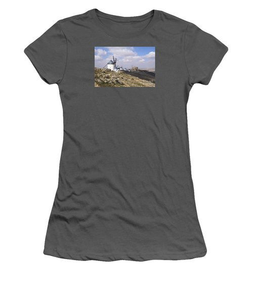 Spanish Windmills And Castle Of Consuegra Women's T-Shirt (Junior Cut) by Perry Van Munster