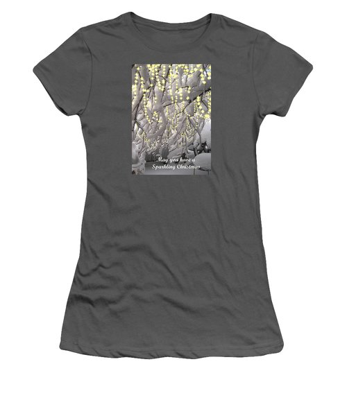 Women's T-Shirt (Junior Cut) featuring the photograph Sparkling Christmas Card by R  Allen Swezey