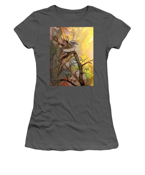 Women's T-Shirt (Junior Cut) featuring the painting Sparrow by Sherry Shipley
