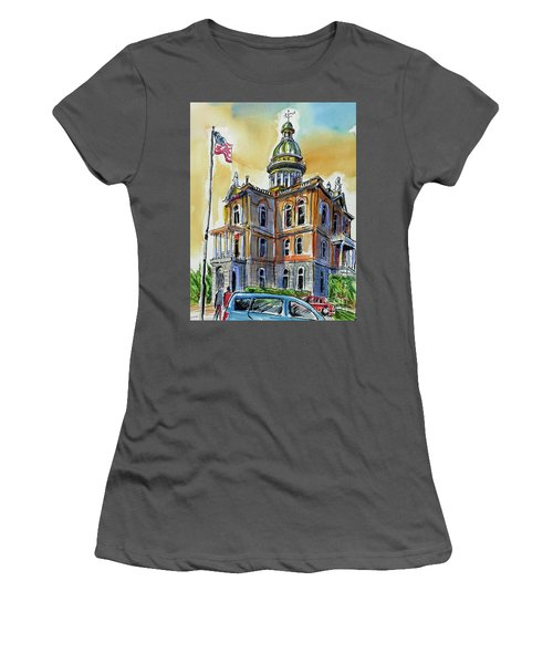 Women's T-Shirt (Junior Cut) featuring the painting Spectacular Courthouse by Terry Banderas