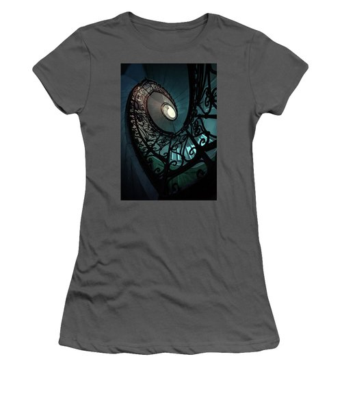 Women's T-Shirt (Junior Cut) featuring the photograph Spiral Ornamented Staircase In Blue And Green Tones by Jaroslaw Blaminsky