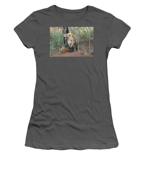 Spotted Hyena Women's T-Shirt (Junior Cut) by Myrna Bradshaw