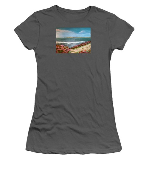 Women's T-Shirt (Junior Cut) featuring the painting Spring At Half Moon Bay by Dee Davis