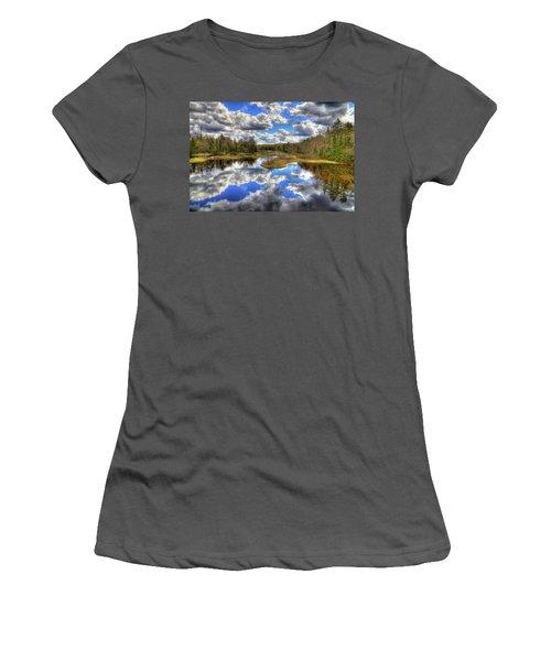 Spring Morning At The Green Bridge Women's T-Shirt (Junior Cut) by David Patterson