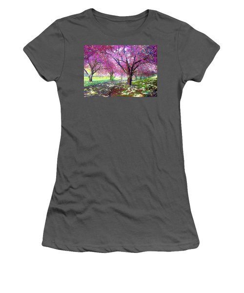 Spring Rhapsody, Happiness And Cherry Blossom Trees Women's T-Shirt (Athletic Fit)