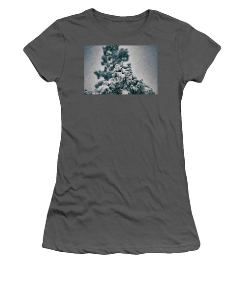 Spring Snowstorm On The Treetops Women's T-Shirt (Junior Cut) by Jason Coward