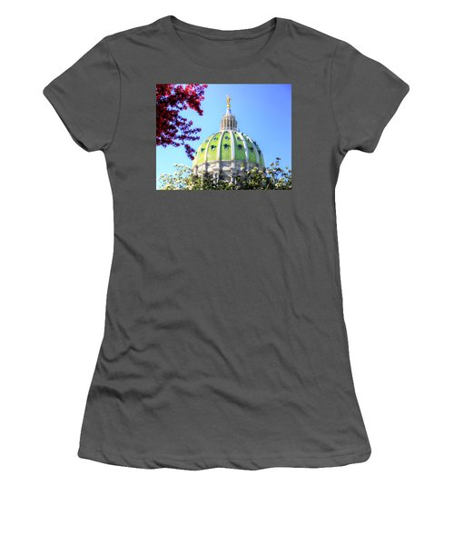 Women's T-Shirt (Junior Cut) featuring the photograph Spring's Arrival At The Pennsylvania Capitol by Shelley Neff
