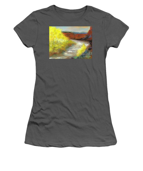 Women's T-Shirt (Junior Cut) featuring the painting Springtime In The Rockies by Frances Marino
