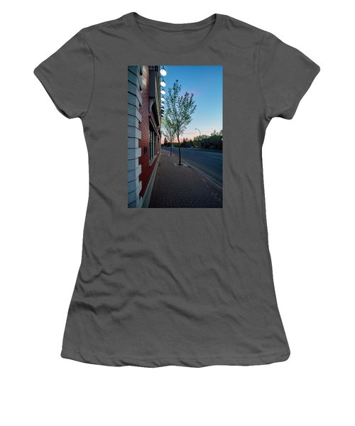 Women's T-Shirt (Junior Cut) featuring the photograph St. Anne Street At Dusk by Darcy Michaelchuk