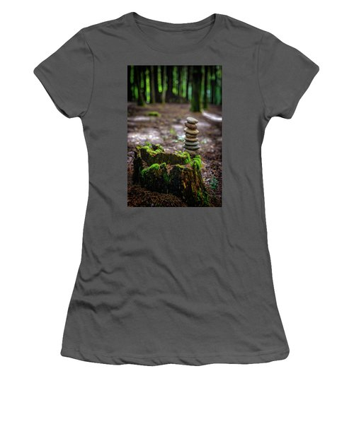 Women's T-Shirt (Junior Cut) featuring the photograph Stacked Stones And Fairy Tales by Marco Oliveira