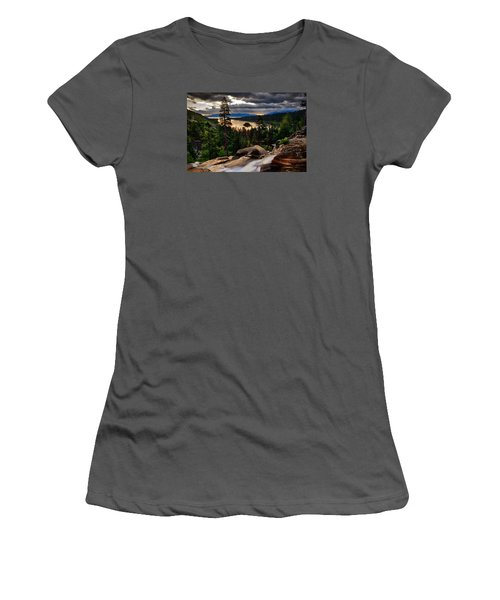 Standing At Eagle Falls Women's T-Shirt (Junior Cut) by Renee Sullivan