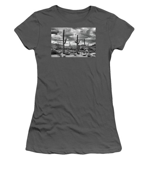 Women's T-Shirt (Athletic Fit) featuring the photograph Standing Saquaros by Monte Stevens