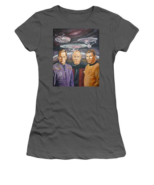 Star Trek Tribute Enterprise Captains Women's T-Shirt (Athletic Fit)