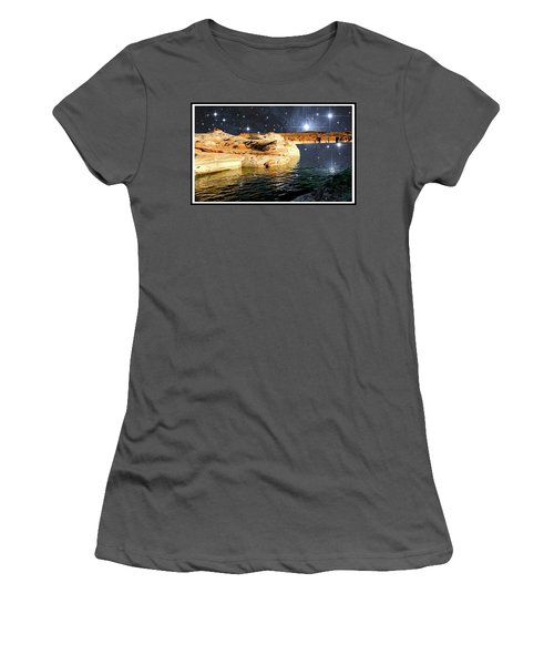 Starry Night Fantasy, Lake Powell, Arizona Women's T-Shirt (Athletic Fit)