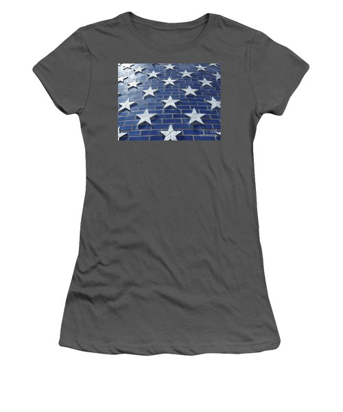 Stars On Blue Brick Women's T-Shirt (Junior Cut) by Erick Schmidt