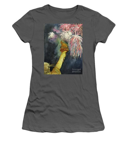 Statute Of Liberty Women's T-Shirt (Junior Cut) by Lucia Grilletto