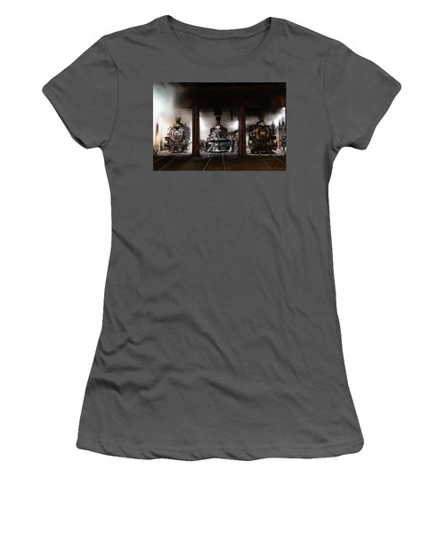 Steam Locomotives In The Roundhouse Of The Durango And Silverton Narrow Gauge Railroad In Durango Women's T-Shirt (Junior Cut) by Carol M Highsmith
