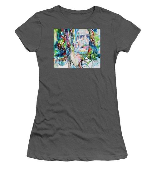 Steven Tyler - Watercolor Portrait Women's T-Shirt (Athletic Fit)