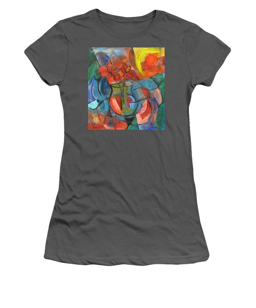 Still Life-flowers With Fruit Women's T-Shirt (Athletic Fit)