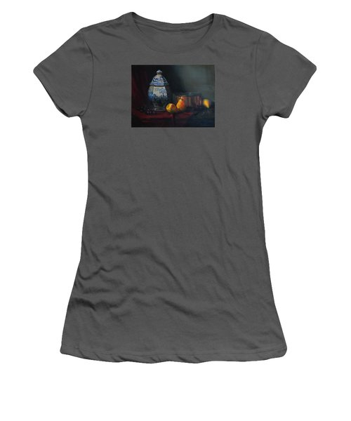 Women's T-Shirt (Junior Cut) featuring the painting Still Life With Antique Dutch Vase by Barry Williamson