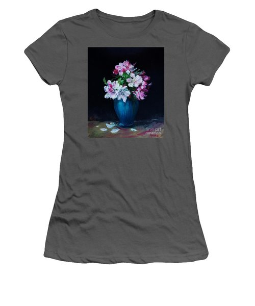 Still Life With Apple Tree Flowers In A Blue Vase Women's T-Shirt (Athletic Fit)