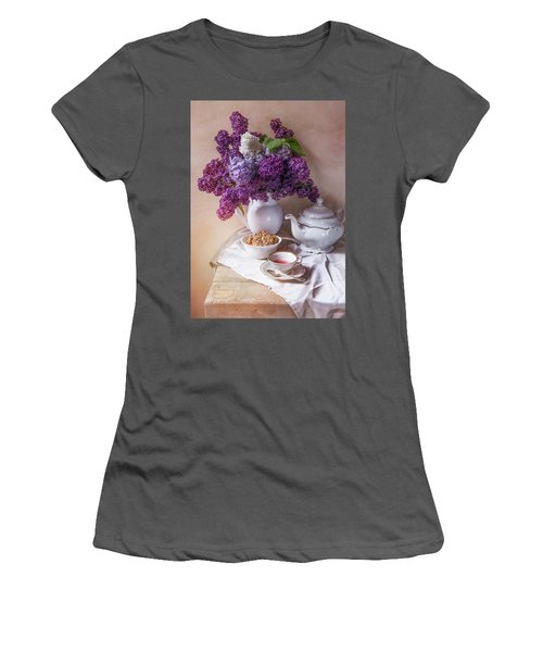 Women's T-Shirt (Junior Cut) featuring the photograph Still Life With Fresh Lilac And China Pots by Jaroslaw Blaminsky