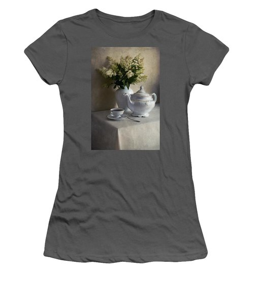 Still Life With White Tea Set And Bouquet Of White Flowers Women's T-Shirt (Athletic Fit)