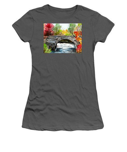 Stone Bridge In Maine  Women's T-Shirt (Athletic Fit)