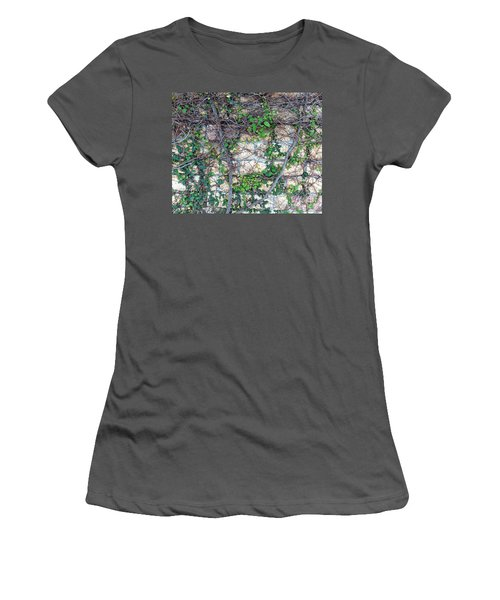 Women's T-Shirt (Athletic Fit) featuring the photograph Stone Wall Covered With Vines by Yali Shi