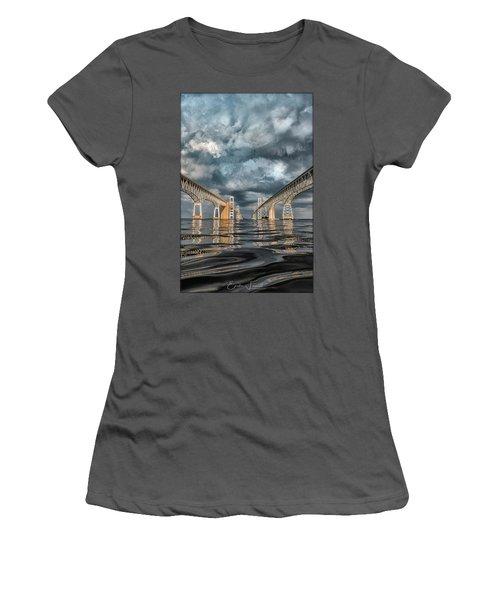 Stormy Chesapeake Bay Bridge Women's T-Shirt (Athletic Fit)