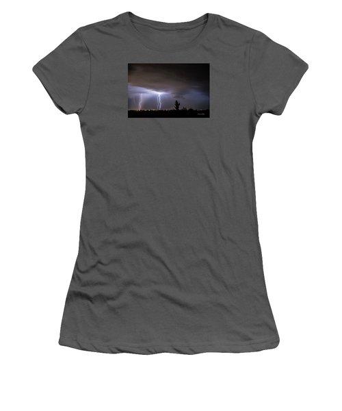 Women's T-Shirt (Junior Cut) featuring the photograph Stormy Night by Karen Slagle