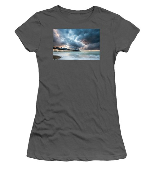 Stormy Sunrise Over Eastbourne Pier Women's T-Shirt (Athletic Fit)