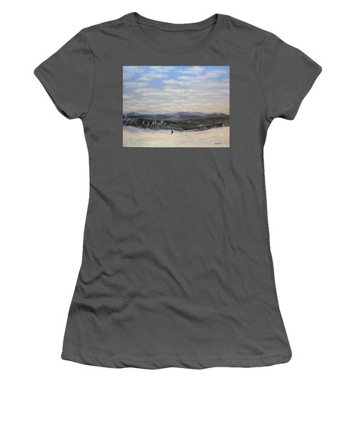 Women's T-Shirt (Junior Cut) featuring the painting Stratton Skiing by Ken Ahlering