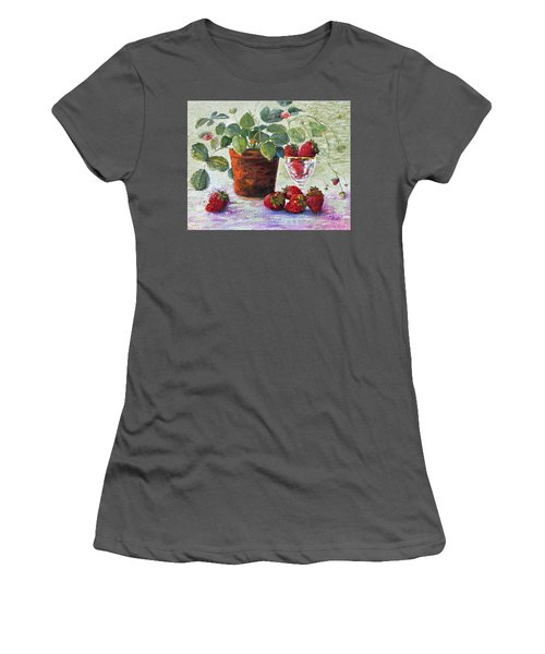 Women's T-Shirt (Athletic Fit) featuring the painting Strawberry Still Life by Marlene Book