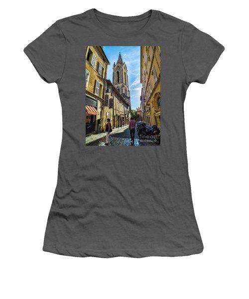 Street In Aix Women's T-Shirt (Junior Cut) by Karen Lewis