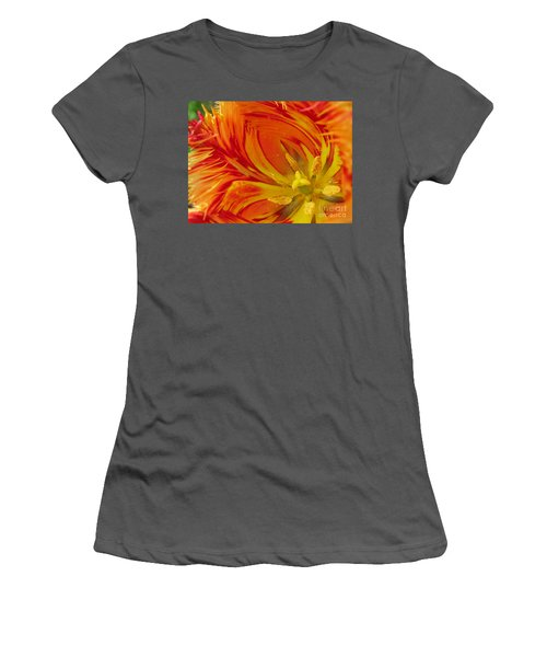 Striped Parrot Tulips. Olympic Flame Women's T-Shirt (Athletic Fit)