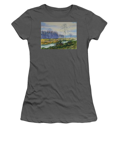 Stream In Flood On Strensall Common Women's T-Shirt (Athletic Fit)