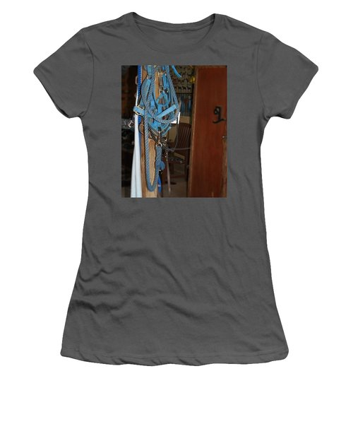 Women's T-Shirt (Junior Cut) featuring the painting Stuff In The Barn by Roena King