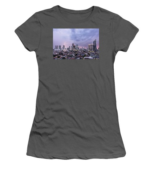 Stunning Sunset Over Jakarta, Indonesia Capital City Women's T-Shirt (Athletic Fit)