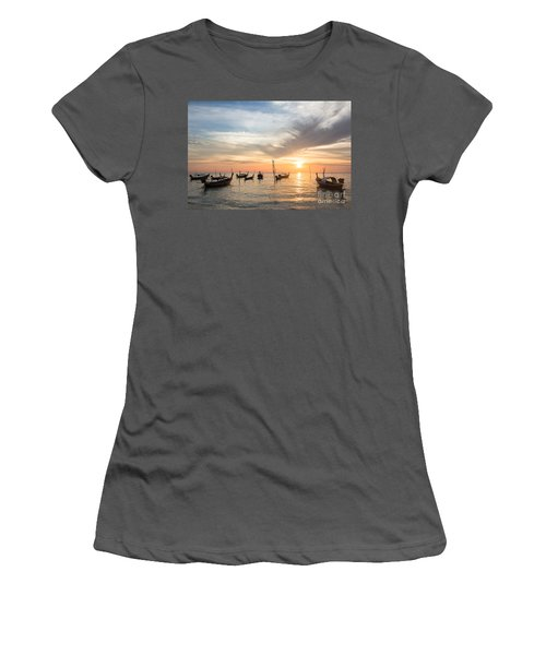 Stunning Sunset Over Wooden Boats In Koh Lanta In Thailand Women's T-Shirt (Athletic Fit)
