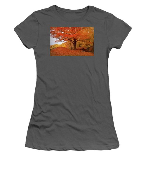 Sturdy Maple In Autumn Orange Women's T-Shirt (Athletic Fit)
