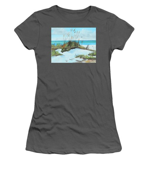 Sugar White Beach Women's T-Shirt (Junior Cut) by Lloyd Dobson