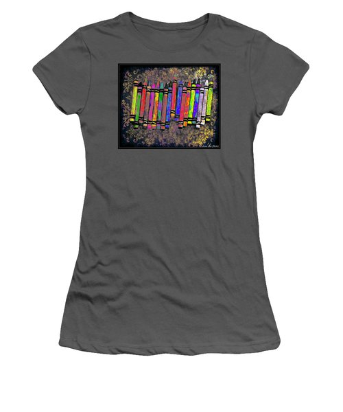 Women's T-Shirt (Junior Cut) featuring the digital art Summer's Crayon Love by Iowan Stone-Flowers