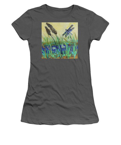 Women's T-Shirt (Athletic Fit) featuring the painting Summertime Dragonfly by Robin Maria Pedrero
