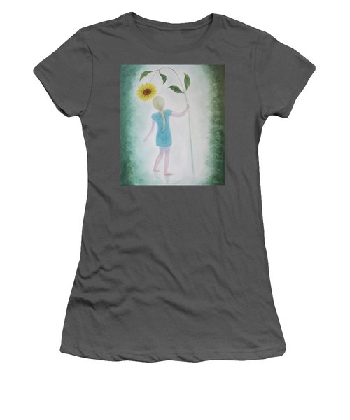 Women's T-Shirt (Junior Cut) featuring the painting Sun Flower Dance by Tone Aanderaa