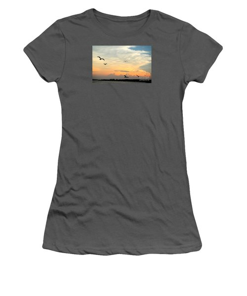 Women's T-Shirt (Junior Cut) featuring the photograph Sun Setting Over The Lake   by Yumi Johnson
